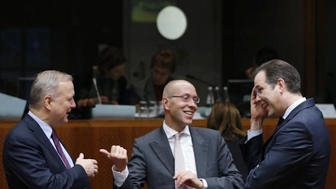 EU's Rehn, ECB's Asmussen and Swedish Finance Minister Borg attend a European Union finance ministers meeting in Brussels