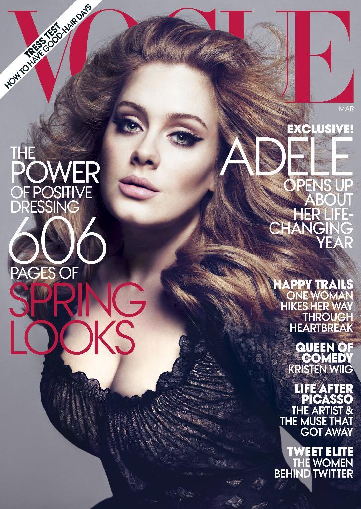 "FILE - In this magazine cover image photographed by Mert Alas and Marcus Piggott and released by Vogue, singer Adele is shown on the cover of the March issue of ""Vogue.""  The singer talks about her life-changing year.  Adele rolled so deep in 2012 that she's been voted The Associated Press Entertainer of the Year.  (AP Photo/Vogue, File)"