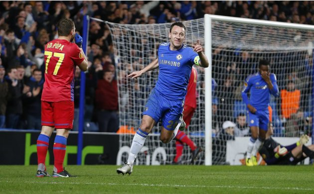 John Terry of Chelsea celebrates scoring against Steaua Bucharest during their Europa League match at Stamford Bridge in London