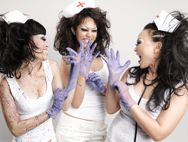 "(L-R) Matilda Chua, Rebecca Spykerman and Elizabeth Loh play the three-nurse ensemble in ""Purple"". (Photo courtesy of Toy Factory Productions)"