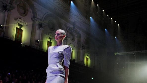 Kate Peck showcases designs by Maticevski on the catwalk as part of Mercedes Benz Fashion Festival Sydney 2012 at Sydney Town Hall on August 25, 2012 in Sydney, Australia. (Photo by Lisa Maree Williams/Getty Images)
