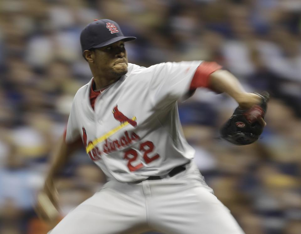 St. Louis Cardinals starting pitcher Edwin Jackson throws during the third inning of Game 2 of baseball's National League championship series against the Milwaukee Brewers Monday, Oct. 10, 2011, in Milwaukee. (AP Photo/Matt Slocum)