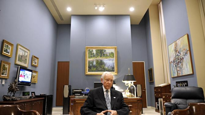 In this Thursday, June 28, 2012 photo, Sen. Orrin Hatch, R-Utah, talks with The Associated Press at his office on Capitol Hill in Washington. With his re-election to a seventh term all but assured, Hatch can think about his legacy. He's very clear about what he wants: a deal that restructures the tax code while also slowing and even stopping the government's accumulation of debt. To get it, he says he'll practice the art of compromise. (AP Photo/Cliff Owen)