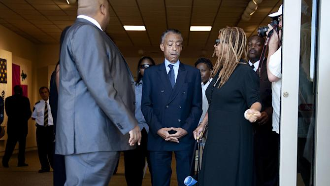 The Rev. Al Sharpton arrives at the public memorial service for Rodney King at Forest Lawn-Hollywood Hills in Los Angeles on Saturday, June 30, 2012. King passed away earlier this month at 47. (AP Photo/Grant Hindsley)