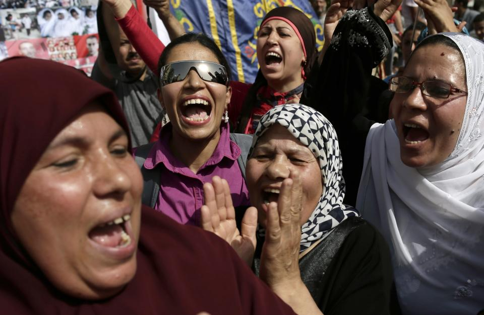 Egyptian protesters shout anti-President Mohammed Morsi slogans during a protest in Tahrir Square, in Cairo, Egypt, Friday, May 17, 2013. Hundreds of protesters gathered to demand early presidential elections and the removal of the Muslim Brotherhood's regime. (AP Photo/Hassan Ammar)