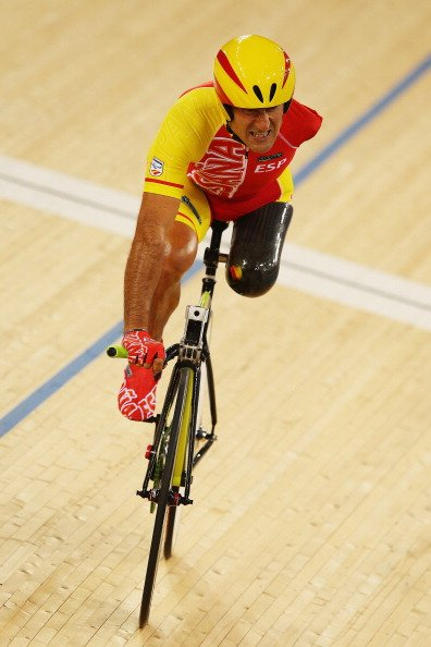 Juan Jose Mendez of Spain competes in the Men's Individual C1-2-3 1km Cycling Time Trial final on day 1 of the London 2012 Paralympic Games at Velodrome on August 30, 2012 in London, England. (Pho