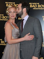 Katherine Heigl gets a kiss from husband Josh Kelley at the Paris premiere of 'One For the Money' at Cinema Gaumont Marigan, Paris, January 31, 2012 -- Getty Images