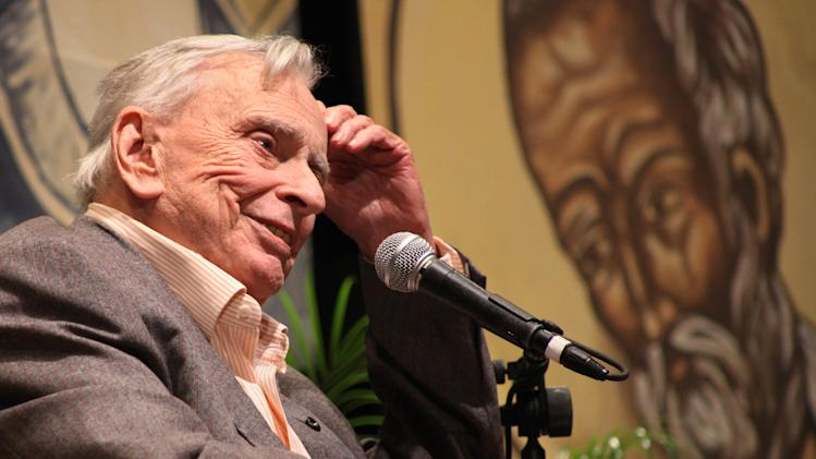 FILE - In this Jan. 10, 2009 file photo released by the Florida Keys News Bureau, author and essayist Gore Vidal delivers the keynote presentation during the first session of the 27th annual Key West Literary Seminar in Key West, Fla. Vidal died Tuesday, July 31, 2012, at his home in Los Angeles. He was 86. (AP Photo/Florida Keys News Bureau, Carol Tedesco)