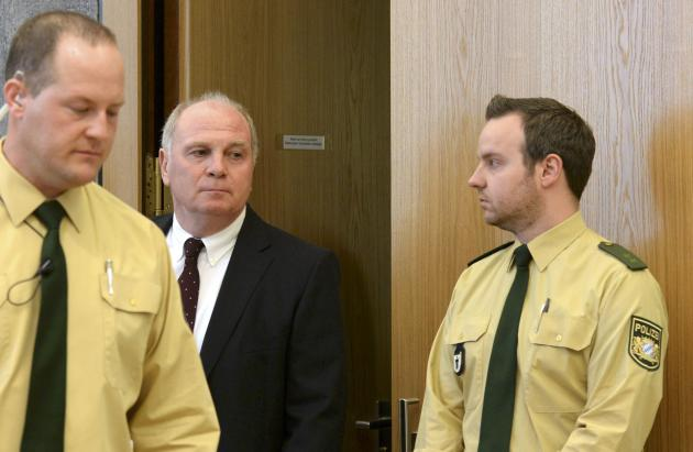 Bayern Munich President Hoeness arrives for his trial for tax evasion at a regional court in Munich