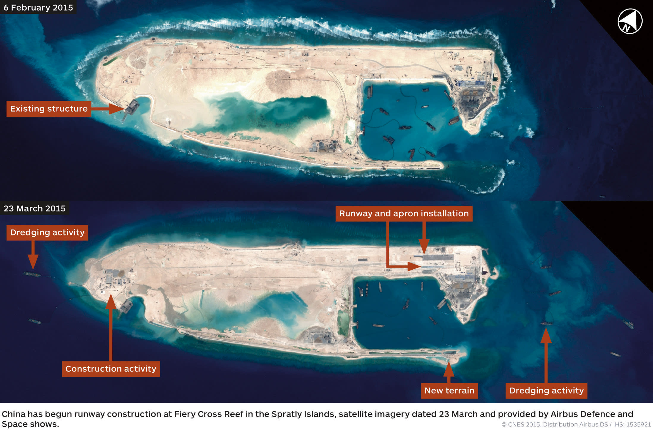 Report says China building airstrip on reclaimed island