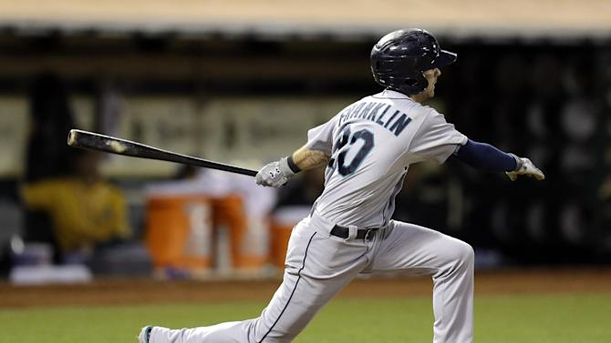 Franklin homers, has 3 RBIs in M's 7-4 victory