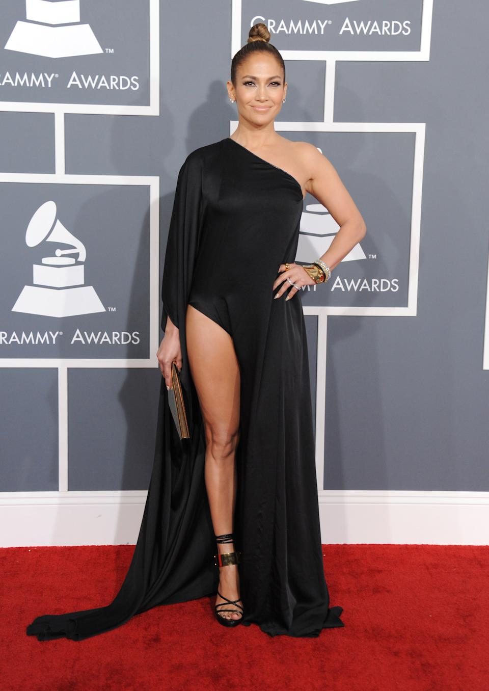 Jennifer Lopez arrives at the 55th annual Grammy Awards on Sunday, Feb. 10, 2013, in Los Angeles.  (Photo by Jordan Strauss/Invision/AP)