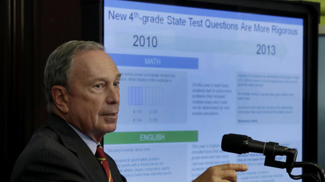 New York Mayor Michael Bloomberg, talks about standardized test scores during a news conference, in New York, Wednesday, Aug. 7, 2013. Less than a third of New York students in grades three through eight scored well enough on statewide tests to be considered proficient in math and English last spring. New York is only the second state, after Kentucky, to test students based on the more rigorous Common Core learning standards adopted by most states as a way to improve student readiness for college and careers. (AP Photo/Richard Drew)