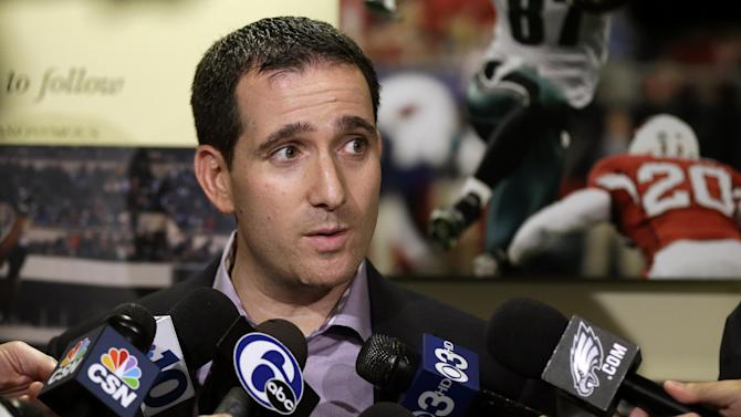 "Philadelphia Eagles general manager Howie Roseman speaks to members of the media at the team's NFL football training facility, Monday, Dec. 31, 2012, in Philadelphia. Andy Reid's worst coaching season with the Eagles ended Monday after 14 years when he was fired by owner Jeffrey Lurie, who said it was time ""to move in a new direction."" (AP Photo/Matt Rourke)"