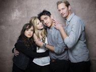 "From left, actresses Ellen Page, Brit Marling, director Zal Batmanglij and actor Alexander Skarsgard, from the film ""The East"" pose for a portrait during the 2013 Sundance Film Festival on Sunday, Jan. 20, 2013 in Park City, Utah. (Photo by Victoria Will/Invision/AP Images)"
