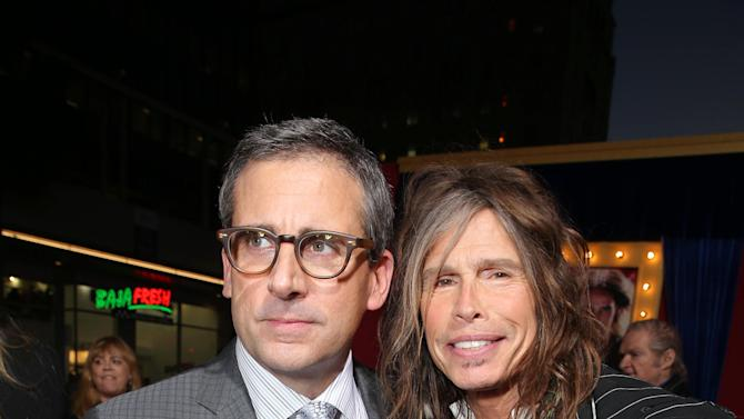 Steve Carell and Steven Tyler at New Line Cinema's World Premiere of 'The Incredible Burt Wonderstone' held at Grauman's Chinese Theatre on Monday, Mar., 11, 2013 in Los Angeles. (Photo by Eric Charbonneau/Invision for New Line Cinema/AP Images)