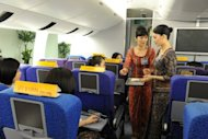 A training session for Singapore Airlines cabin crew. Singapore Airlines has unveiled plans to introduce revamped seats and cabin interiors with an upgraded in-flight entertainment in a bid to stay ahead of Asian and Middle East rivals in the premium travel market