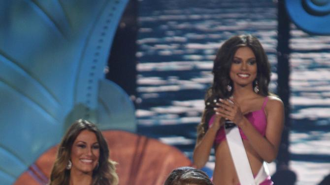 Miss USA Nia Sanchez is seen as she is announced as a top 10 finalist at the 63rd Annual Miss Universe Pageant in Miami
