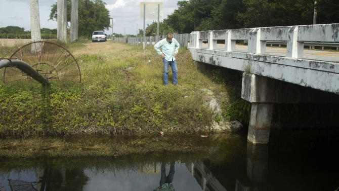 "In this Wednesday, Nov. 28, 2012 photo, Joe Wasilewski checks a canal where a Nile crocodile has been spotted near Homestead, Fla. State wildlife officials have given their agents a rare order to shoot to kill in the hunt for a young and potentially dangerous Nile crocodile loose near Miami. ""They get big. They're vicious. The animals are just more aggressive and they learn that humans are easy targets,"" says Wasilewski, a reptile expert and veteran wrangler. The American croc ""is a gentle animal, believe it or not. That's their nature. They're more fish eaters. They don't consider humans a prey source,"" says Wasilewski. (AP Photo/J Pat Carter)"