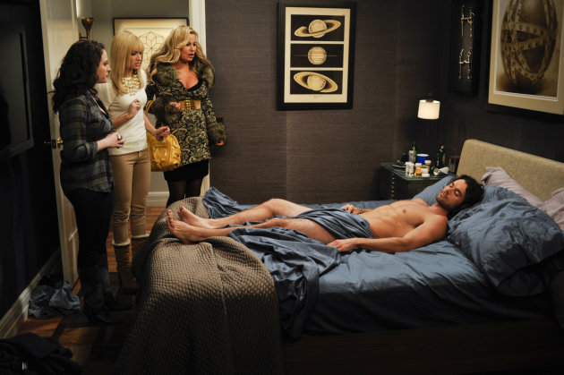 "In this image released by CBS, from left, Kat Dennings, Beth Behrs and Jennifer Coolidge are shown in a scene from ""2 Broke Girls,"" scheduled to air Monday, Feb. 6 at 8:30 p.m. on CBS. As CBS' Monday night comedies are pushing the barriers with risque jokes, the network and producers of the comedies strongly defend their work and point to the shows' success as evidence they are working for viewers. ""Two and a Half Men"" is TV's favorite comedy, ""How I Met Your Mother"" has its best ratings ever in its seventh year and ""2 Broke Girls"" is a breakout freshman hit. (AP Photo/CBS, Darren Michales)"