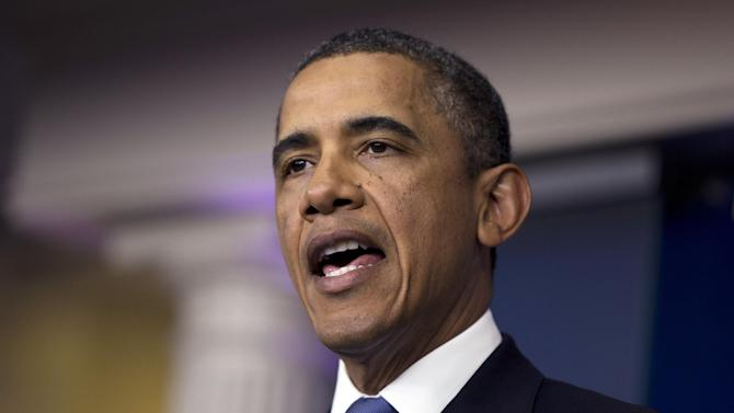 President Barack Obama delivers a statement on the fiscal cliff negotiations with congressional leaders in the briefing room of the White House on Friday, Dec. 28, 2012, in Washington.  The negotiations are a last ditch effort to avoid across-the-board first of the year tax increases and deep spending cuts. (AP Photo/ Evan Vucci)
