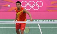 "China's Lin Dan during a badminton training session at the Wembley Arena in London on July 26. ""We are long-time competitors, but our biggest enemy is not each other, but injury,"" Lin said of his long-term adversary Lee Chong Wei"