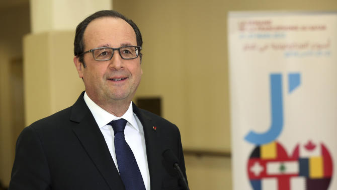 French President Francois Hollande speaks during the official opening ceremony of the Lycee Franco - Qatarien Voltaire school in Doha, Qatar, Monday, May 4, 2015. (AP Photo/Osama Faisal)
