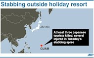 Graphic showing Guam where at least three Japanese tourists were killed in a stabbing spree outside a resort late Tuesday