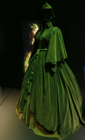 A costume worn by British actress Vivien Leigh as Scarlett O&#39;Hara in the iconic 1939 movie &#39;Gone with the Wind&#39; on display at the Hollywood Costume exhibition at the Victoria and Albert Museum in London Wednesday, Oct. 17, 2012. The show at the Victoria and Albert Museum showcases more than one hundred movie costumes from a century of film-making. The exhibition opens to the public on Oct. 20, 2012 and run till 27 Jan. 2013. (AP Photo/Alastair Grant)