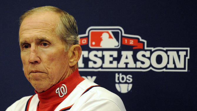 Washington Nationals manager Davey Johnson speaks at a news conference after Game 5 of the National League division baseball series against the St. Louis Cardinals on Saturday, Oct 13, 2012, in Washington. St. Louis 9-7. (AP Photo/Nick Wass)