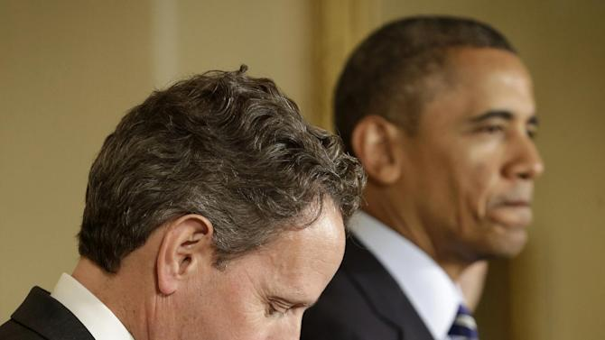 Outgoing Treasury Secretary Timothy Geithner listens at left while President Barack Obama pauses during his announcement in the East Room of the White House in Washington, Thursday, Jan. 10, 2013, that he will nominate current White House Chief of Staff Jack Lew to succeed Geithner. (AP Photo/Pablo Martinez Monsivais)