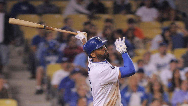 Los Angeles Dodgers' Matt Kemp hits a two run home run during the eighth inning of their baseball game against the San Francisco Giants, Thursday, Sept. 22, 2011, in Los Angeles. (AP Photo/Mark J. Terrill)