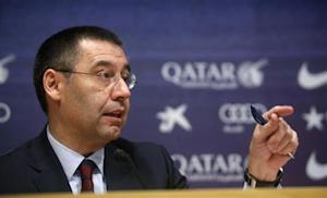 Bartomeu attends a news conference at Camp Nou stadium in Barcelona