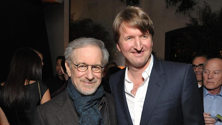 IMAGE DISTRIBUTED FOR THE HOLLYWOOD REPORTER - Steven Spielberg, left, and Tom Hooper attend The Hollywood Reporter Nominees' Night at Spago on Monday, Feb. 4, 2013, in Beverly Hills, Calif. (Photo by John Shearer/Invision for The Hollywood Reporter/AP Images)