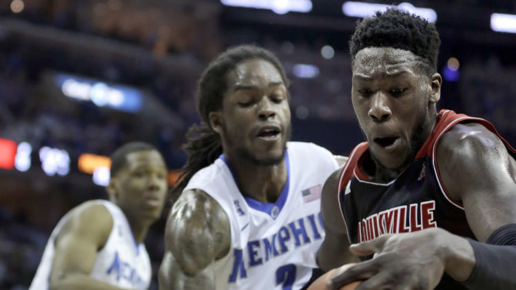 Louisville's Montrezl Harrell, right, is pressured by Memphis' Shaq