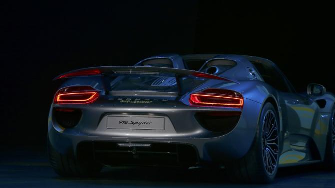 The new Porsche 918 Spyder hybrid car is presented at the Volkswagen group night at the Frankfurt motor show