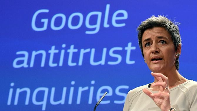 European competition commissioner, Margrethe Vestager, speaks on April 15, 2015 in Brussels as the EU formally charged Google with abusing its dominant position as Europe's top search engine