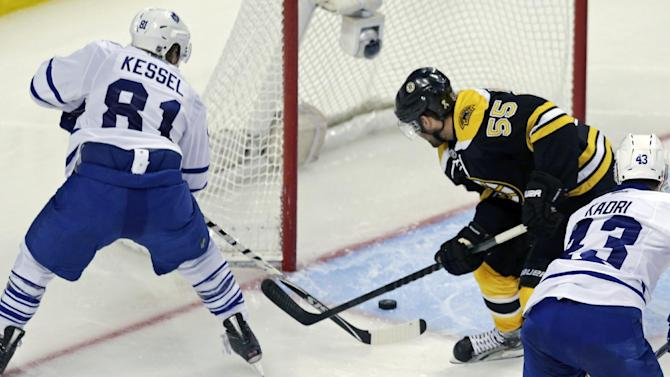 Toronto Maple Leafs right wing Phil Kessel beats Boston Bruins defenseman Johnny Boychuk (55) while he scores as goalie Tuukka Rask gets caught out of position during the third period in Game 7 of their NHL hockey Stanley Cup playoff series in Boston, Monday, May 13, 2013. (AP Photo/Charles Krupa)