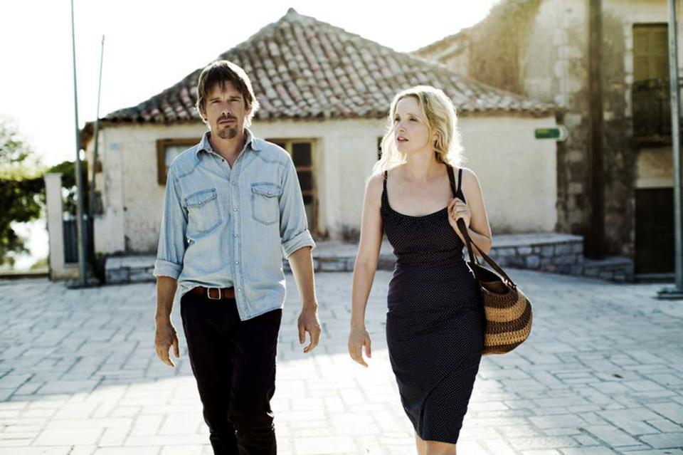 "This undated publicity photo released by Sony Pictures Classics shows, Ethan Hawke, left, and Julie Delpy, in a scene from the film, ""Before Midnight,"" directed by Richard Linklater.  (AP Photo/Sony Pictures Classics, Despina Spyrou)"