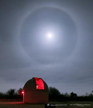 Lunar Halo Crowns the Moon Over Observatory in Striking Photo