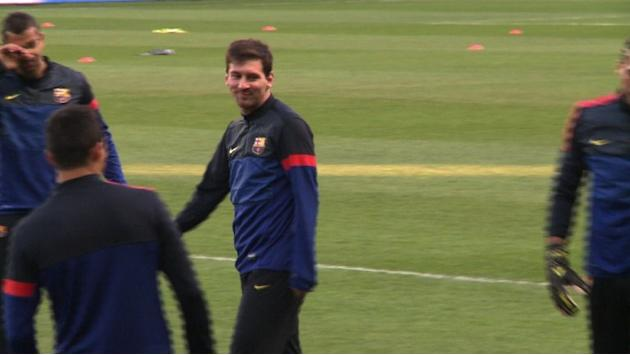Barca train ahead of Champions League clash with PSG