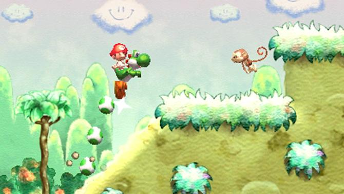 """This video game image released by Nintendo shows a scene from """"Yoshi's Island."""" The loveable green-skinned critter Yoshi and princess-rescuing adventurer Link and are coming the Nintendo 3DS. The Japanese gaming giant announced plans Wednesday, April 17, 2013, to bring """"Yoshi's Island,"""" """"The Legend of Zelda"""" and """"Mario Party"""" games to its handheld gaming system. (AP Photo/Nintendo)"""