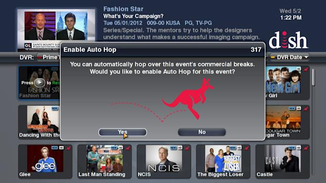This image provided by Dish Network shows a screen message of the AutoHop feature, that allows customers to skip over commercials. Broadcasters Fox, NBC and CBS sued Dish Network Corp. on Thursday May 24, 2012, over the service. Dish, the nation's second-largest satellite TV provider, filed a suit of its own seeking a judicial all-clear for its ad-skipping technology. (AP Photo/Dish Network)