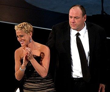 "Edie Falco and James Gandolfini of ""The Sopranos"" Outstanding Drama Series Emmy Awards - 9/19/2004"
