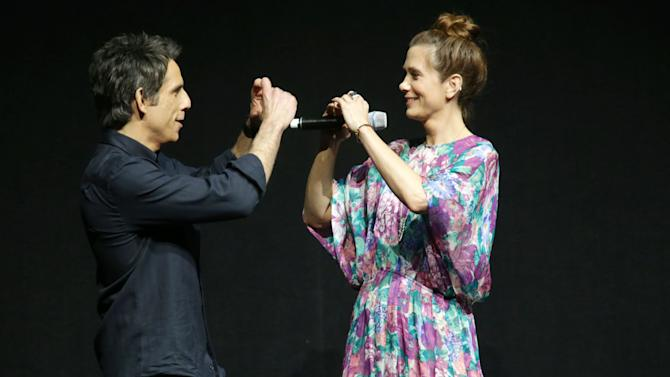"Ben Stiller and Kristen Wiig, cast members in the upcoming film ""The Secret Life of Walter Mitty"" at the 20th Century Fox Presentation at 2013 CinemaCon, on Thursday, April, 18th, 2013 in Las Vegas. (Photo by Eric Charbonneau/Invision for 20th Century Fox/AP Images)"