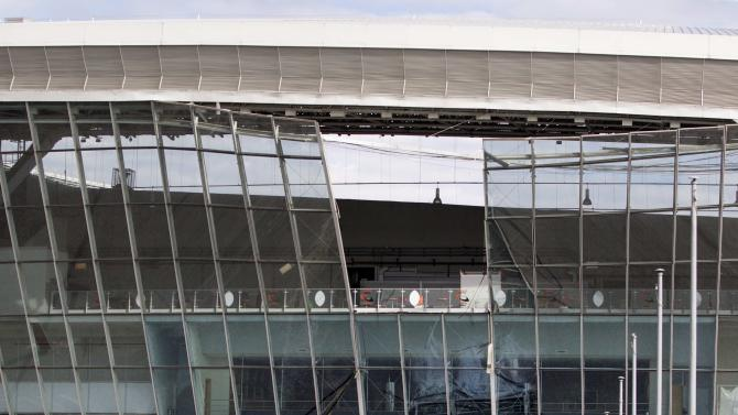 The Donbass Arena stadium is pictured after it was damaged by a blast wave following shelling in Donetsk