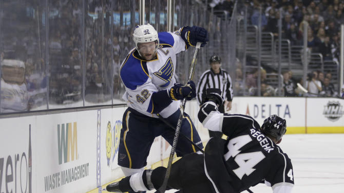 St. Louis Blues' David Backes, top, collides with Los Angeles Kings' Robyn Regehr, of Brazil, during the first period in Game 3 of a first-round NHL hockey Stanley Cup playoff series n Los Angeles, Saturday, May 4, 2013. (AP Photo/Jae C. Hong)