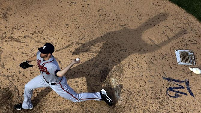 Atlanta Braves relief pitcher Alex Wood throws during the eighth inning of a baseball game against the Milwaukee Brewers Saturday, June 22, 2013, in Milwaukee. (AP Photo/Morry Gash)