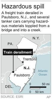 Map locates train derailment and hazardous spill in New Jersey