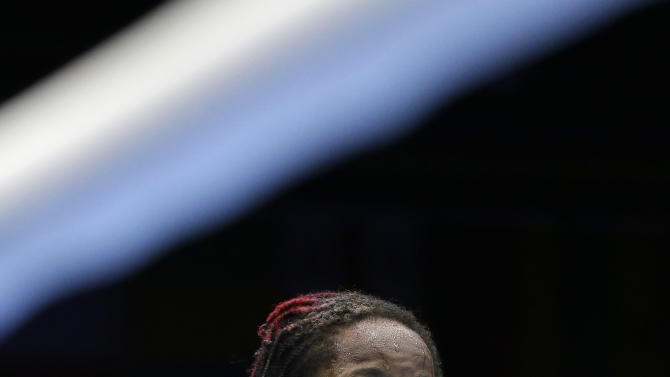 United States' Warren Raushee looks on after losing to France's Nordine Oubaali in a men's flyweight 52-kg preliminary boxing match at the 2012 Summer Olympics, Friday, Aug. 3, 2012, in London. (AP Photo/Patrick Semansky)